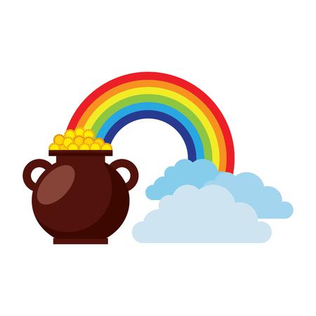 Cauldron coins treasure rainbow clouds fantasy vector illustration Foto de archivo - 95660979