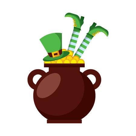Cauldron treasure with hat and leg of leprechaun vector illustration