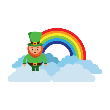 Standing cartoon leprechaun on clouds vector illustration