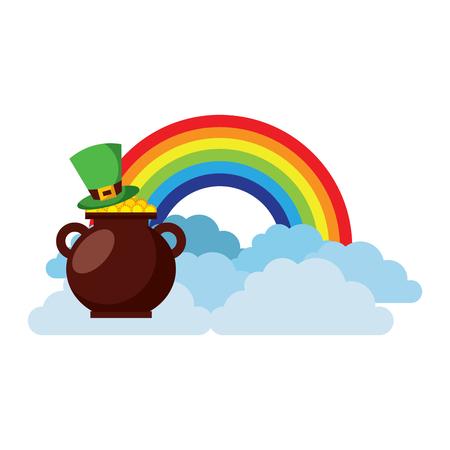 Hat of leprechaun with pot coins treasure rainbow cloud fantasy vector illustration Banque d'images - 95660982