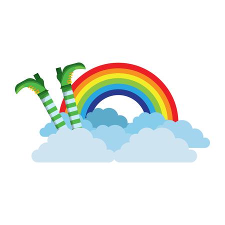 La gamba del leprechaun con l'arcobaleno e le nuvole vector l'illustrazione Archivio Fotografico - 95756194