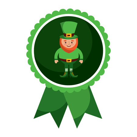 Rosette badge with leprechaun vector illustration Foto de archivo - 95756197