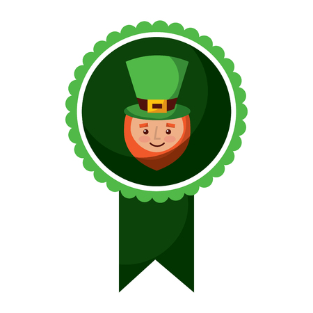 Rosette badge with face of a leprechaun vector illustration