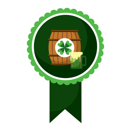 Rosette badge with wooden barrel vector illustration Illusztráció