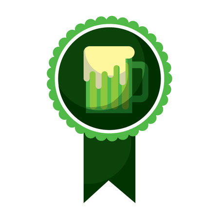 Rosette badge with beer glass vector illustration