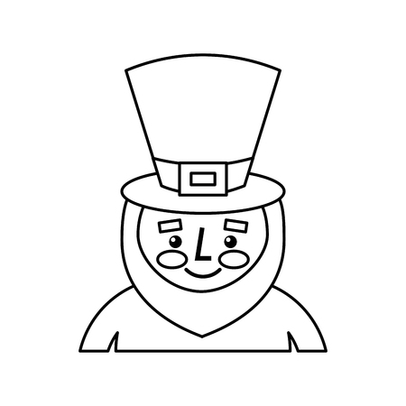 Leprechaun st patricks day cartoon character portrait vector illustration outline image