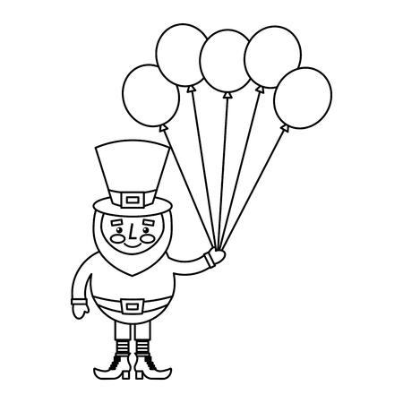 Happy leprechaun holding bunch balloons decoration vector illustration outline image Illusztráció