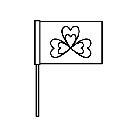 Flag in the pole with clover festival st patricks symbol vector illustration outline image
