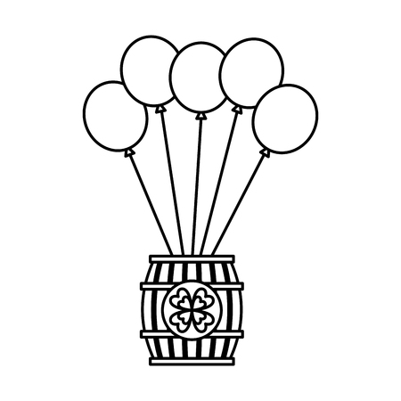 Wooden barrel of beer with bunch balloons ornament vector illustration outline image Illustration