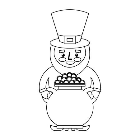 St patrick leprechaun holding pot full coins treasure vector illustration outline image Ilustracja