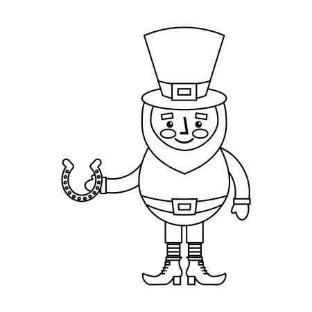 Leprechaun holding horseshoe for luck traditional vector illustration outline image Illustration