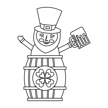 St. patricks day leprechaun inside on a barrel with a pint of beer in his hand vector illustration outline image