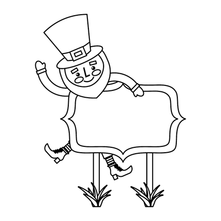 Leprechaun on wooden board happy character vector illustration outline image Çizim