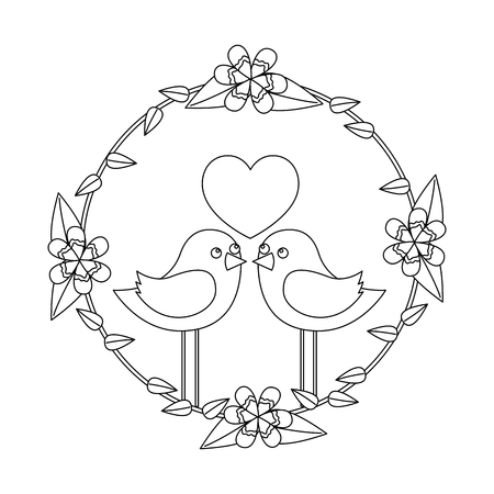 Two happy cute bird in love with the heart in floral wreath vector illustration outline image