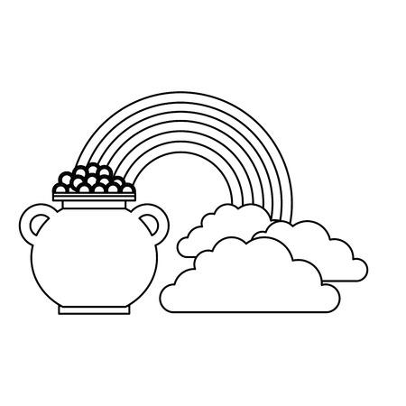 Cauldron coins treasure rainbow clouds fantasy vector illustration outline image