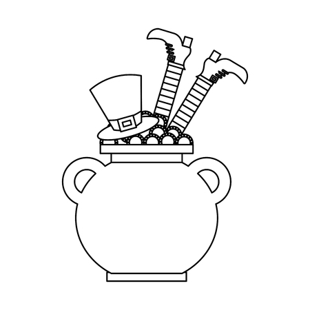 Cauldron treasure with hat and leg of leprechaun vector illustration outline image Ilustração