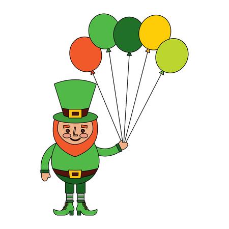 Happy leprechaun holding a bunch of balloons vector illustration Stock fotó - 95756367