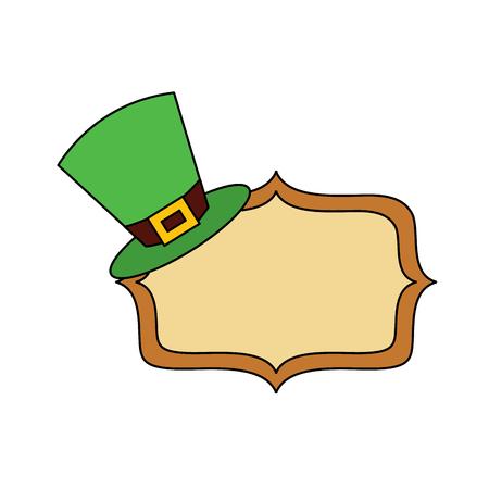 Hat of leprechaun with vintage board blank vector illustration Illustration