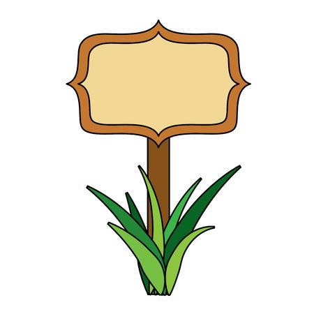 Holzbrett auf einem Gras leere Vektor-Illustration Standard-Bild - 95661124