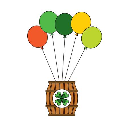 Wooden barrel of beer with balloons vector illustration