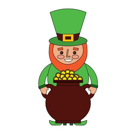 Saint Patrick leprechaun holding a pot full of coins vector illustration Ilustrace