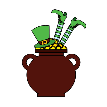 Cauldron treasure with hat and leg of leprechaun vector illustration Banque d'images - 95661194