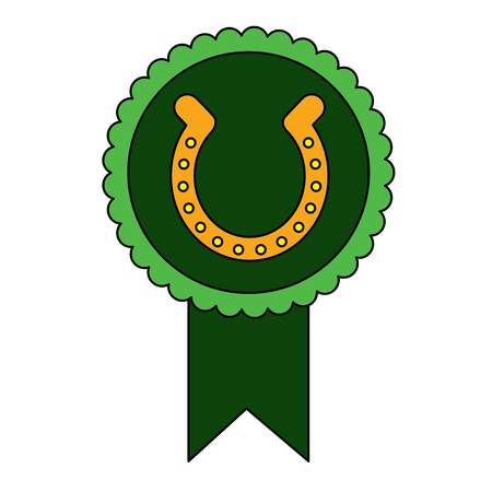 Rosette badge with horseshoe vector illustration 일러스트