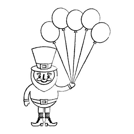 Happy leprechaun holding bunch balloons decoration vector illustration