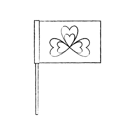 Flag in the pole with clover festival st patricks symbol vector illustration