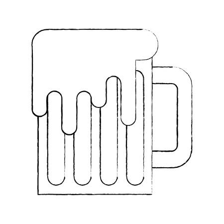 Beer mug glass foam alcohol drink vector illustration