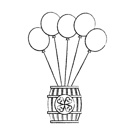 Wooden barrel of beer with bunch balloons ornament vector illustration Stock Vector - 95661372