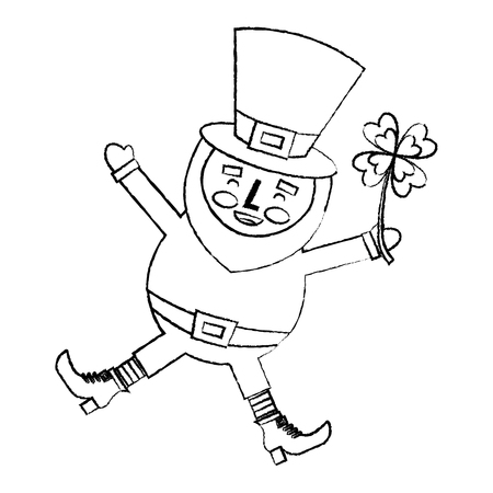 Happy leprechaun jumping holding clover in hand vector illustration