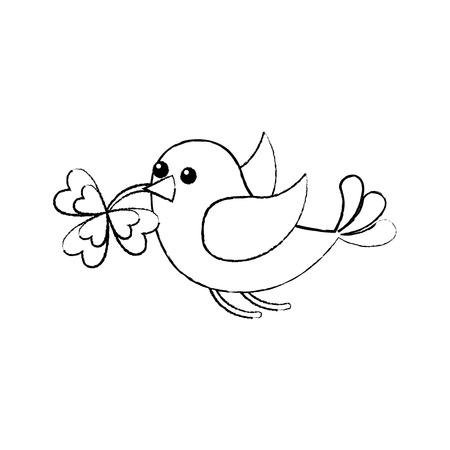 bird flying with clover in beak sketch image