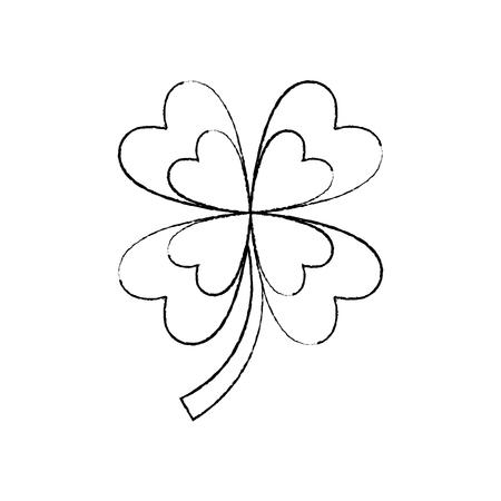 four leaf clover good luck symbol vector illustration sketch image