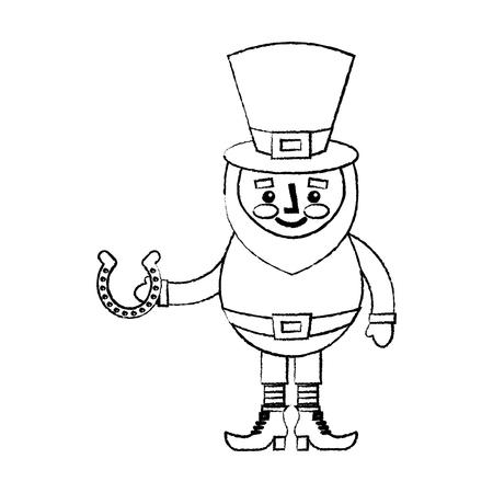 leprechaun holding horseshoe for luck traditional vector illustration sketch image Stock Vector - 95693483