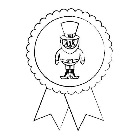 rosette badge with leprechaun st patricks cartoon vector illustration sketch image Illustration