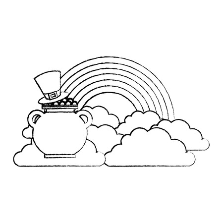 hat of leprechaun with pot coins treasure rainbow cloud fantasy vector illustration sketch image Banque d'images - 95693486