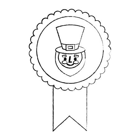 rosette badge with face leprechaun character vector illustration sketch image Illustration