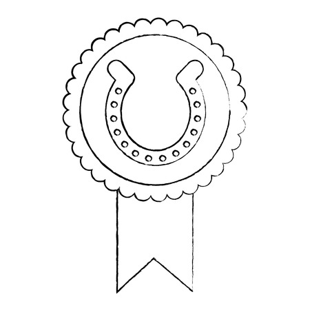 rosette badge with horseshoe luck emblem vector illustration sketch image