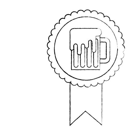 rosette badge with beer glass foamy drink vector illustration sketch image