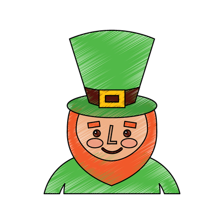 Kobold St. Patricks Day Cartoon Charakter Porträt Vektor-Illustration Zeichnung Bild Standard-Bild - 95713402