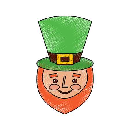 leprechaun face with red beard green hat for st. patricks day vector illustration drawing image