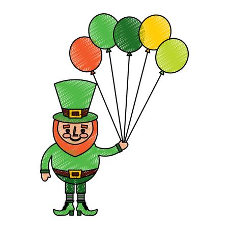 happy leprechaun holding bunch balloons decoration vector illustration drawing image Stock fotó - 95714362