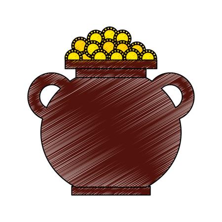cauldron full coins money treasure fortune vector illustration drawing image Ilustrace