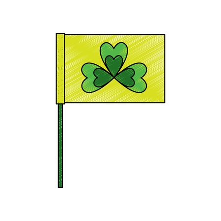 flag in the pole with clover festival st patricks symbol vector illustration drawing image Illustration
