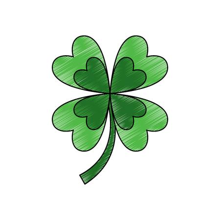 four leaf clover good luck symbol vector illustration drawing image