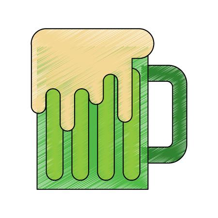 beer mug glass foam alcohol drink vector illustration drawing image