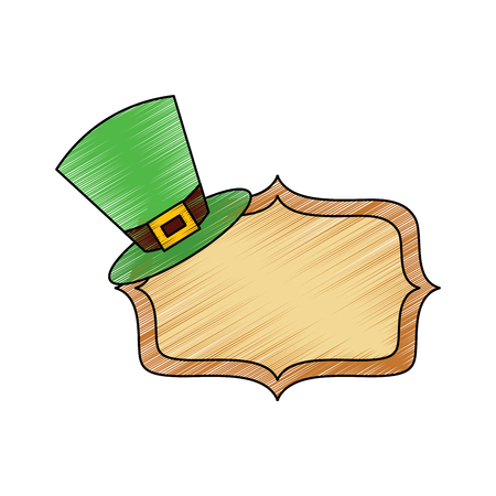 hat of leprechaun with vintage board blank vector illustration drawing image