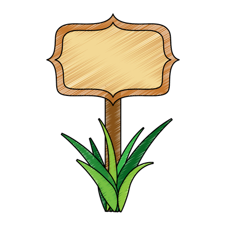 wooden board on a grass empty vector illustration drawing image Çizim