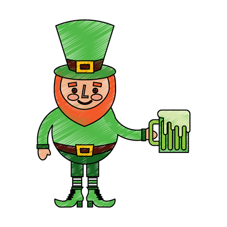cute leprechaun holding cold beer drink vector illustration drawing image